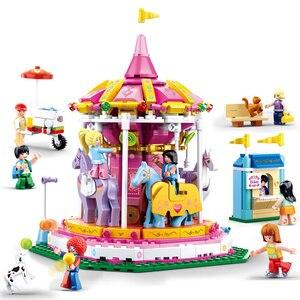 Image 3 - 놀이 공원 관람차 빌딩 블록 도시 친구 회전 목마 DIY 벽돌 아이들을위한 모델 놀이터 소녀 장난감 선물
