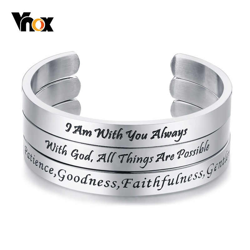 Vnox Fruit of the Spirit Bangle for Women Men Stainless Steel Bracelets Unisex Faith Christ Christian Pulseira Casual Jewelry