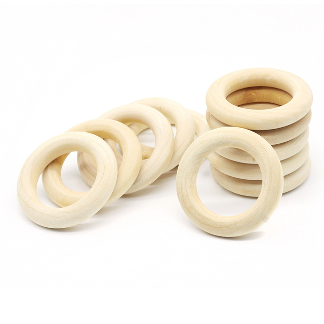 Us 1 97 35 Off 5pcs 70mm Baby Natural Teething Rings Wooden Necklace Bracelet Diy Crafts Unfinished Wood Rings Diy Crafts Baby Teether In Baby