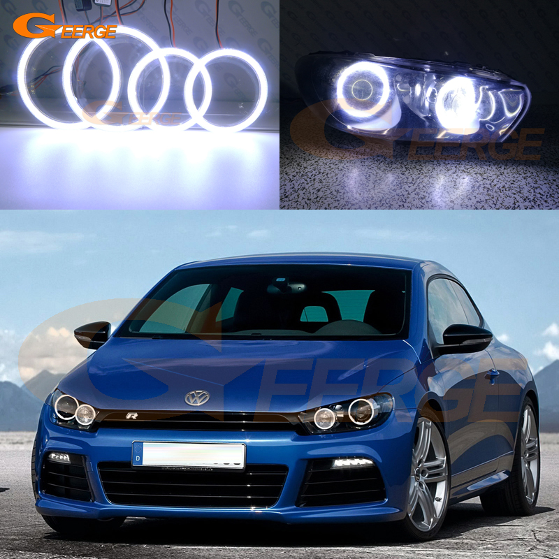 For Volkswagen VW Scirocco 2008 2013 xenon headlight Excellent Ultra bright illumination COB led angel eyes