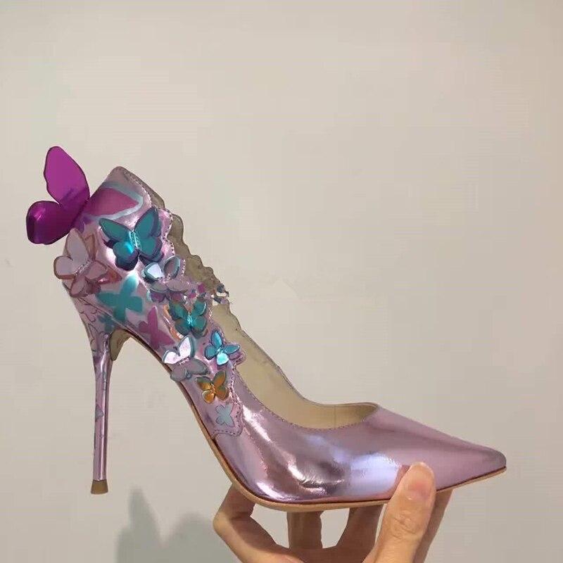 Fleur Femmes Rose blue Peu Black Profonde Chaussures Pompes Talons Bouche Pointu Hauts Miroir Mariage Lady Bout En Luxe De Blue Papillon sky Cuir À xa8avq1