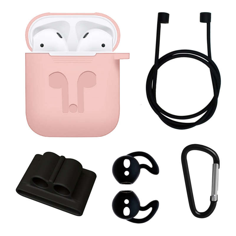 For Apple AirPods Accessories Silicone Cover Case+Anti Lost Strap+Ear Cover Hook