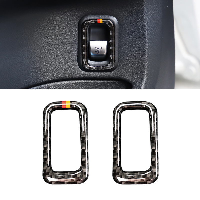 For Mercedes Benz C Class <font><b>W205</b></font> C180 C200 <font><b>C300</b></font> GLC260 Carbon Fiber Rear Trunk Switch Button Frame Cover Sticker Trim image