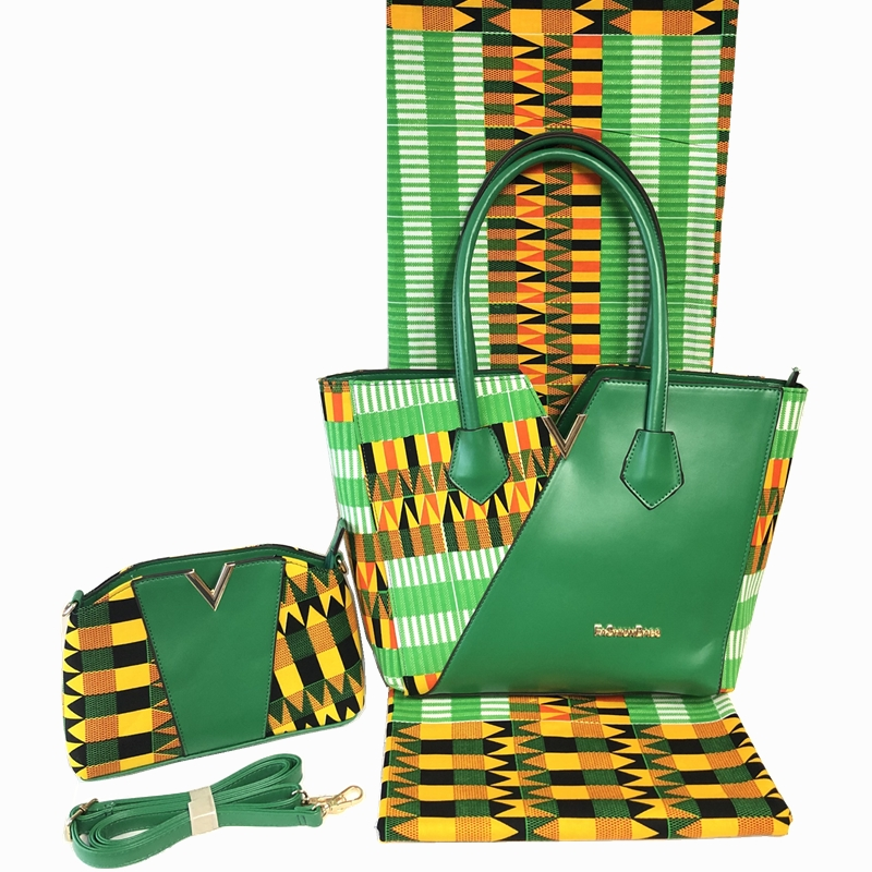 African Designe Cotton Wax Handbag And 6Yards Fabric Set To Match Fashion Super Wax Hollandais Bag