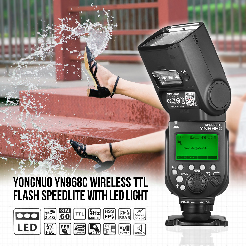 YONGNUO YN968C Wireless TTL Flash Speedlite for Canon DSLR Cameras 1 8000s HSS Built in LED