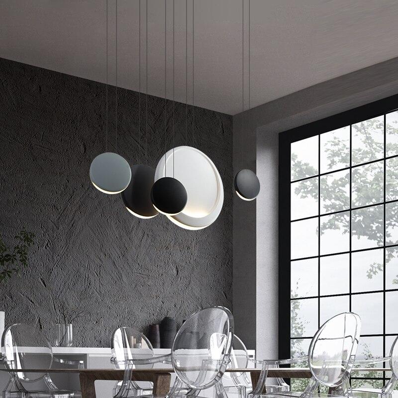 Nordic Round Macaron LED Chandelier Lighting Kitchen Fixtures Loft Bedroom Living Room LED Pendant Lamp Interior Decor Luminaire