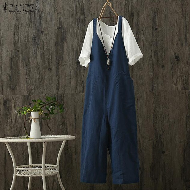 570017b6aaf 2019 ZANZEA Women Jumpsuits Casual Summer Strappy Sleeveless Loose Solid Rompers  Cotton Linen Dungarees Bib Overalls Plus Size