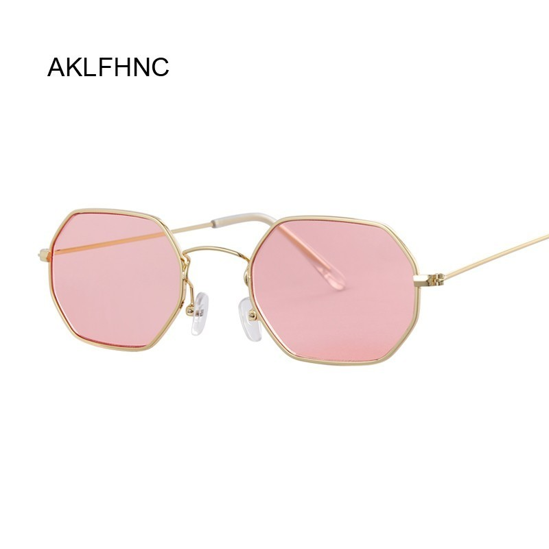 Metal Frame Square Sunglasses Small-frame Vintage Sun Glasses Female Ocean Blue Pink Clear Sunglass For Women Retro Eyeglasses