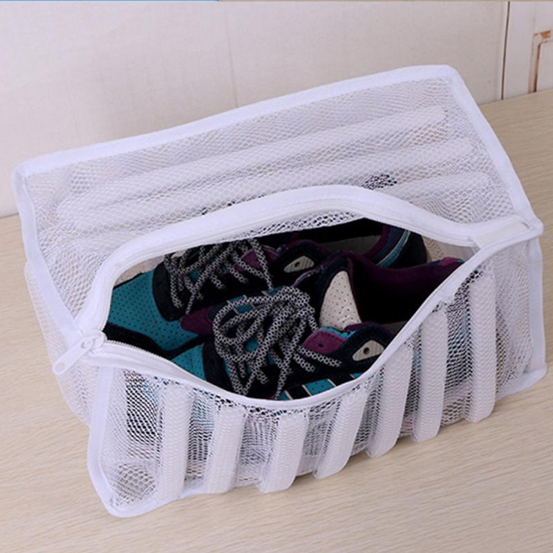 White Mesh Laundry Wash Bag Sneaker Shoes Dryer Washing Bag Home Organizer Mesh Laundry Clothes Bag