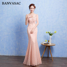 BANVASAC Sexy Crystal Deep V Neck Lace Appliques Mermaid Long Evening Dresses Party Beading Backless Prom Gowns