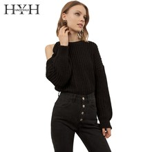 HYH HAOYIHUI Simplicity Pure Black Color Exposed Shoulder O-neck Lantern Long Sleeves Easy Sweater New Arrival