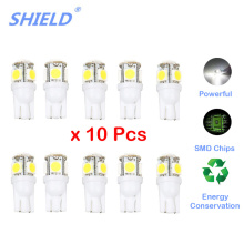 цена на 10 Pcs Led Car DC 12v Lampada Light T10 5050 Super White 194 168 W5w T10 Led Parking Bulb Auto Wedge Clearance Lamp SHIELD