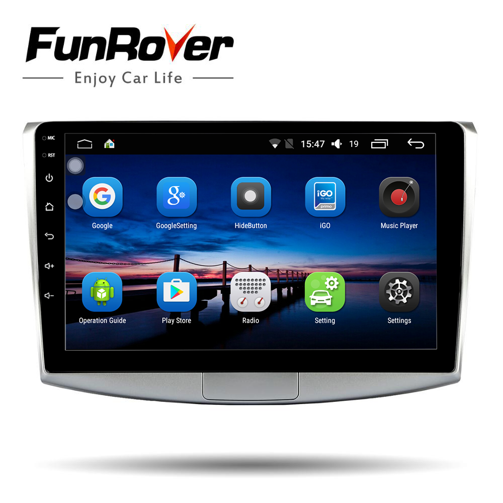 Funrover 2 din 10.1 Android 8.0 Car dvd player for Volkswagen VW Passat B6 B7 CC Magotan 2011-2015 radio GPS navigation wifi BT