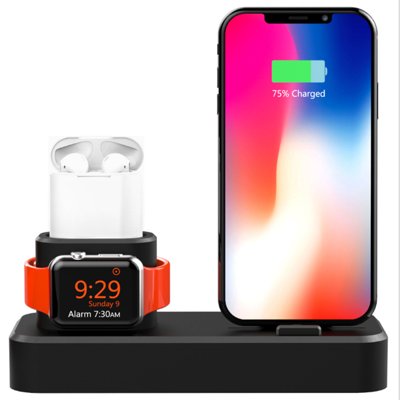 3 In 1 Multi Charging <font><b>Dock</b></font> Stand Docking <font><b>Station</b></font> Charger Holder for <font><b>IPhone</b></font> Watch for Mobile Phone for Airpo 3 In 1 image