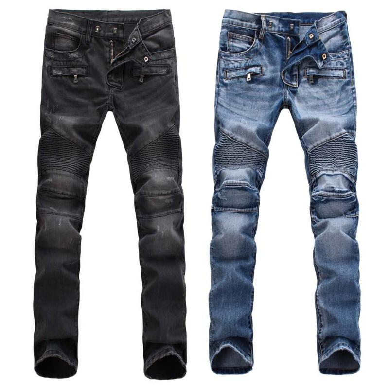 Fashion Designed Mens Straight Biker   Jeans   Pant Denim Trousers New Men Solid Color Pants Simple Male Long Street   Jeans   Fashion