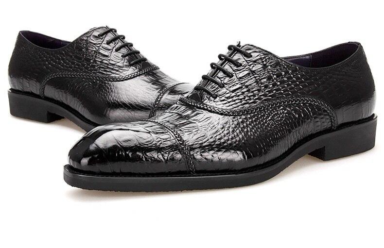 Robe Mariage En Busines Taille Véritable Eur45 Crocodile Cuir Oxfords Grain Hommes Chaussures Grande Noir De B7qSFxP
