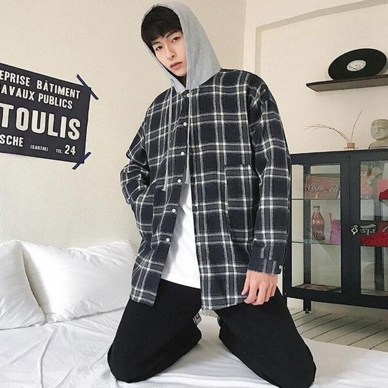 New Arrivals Plaid hoodie Shirt Men Fashion Retro Casual Man Streetwear Hip Hop Loose Long-sleeved Trend Hooded
