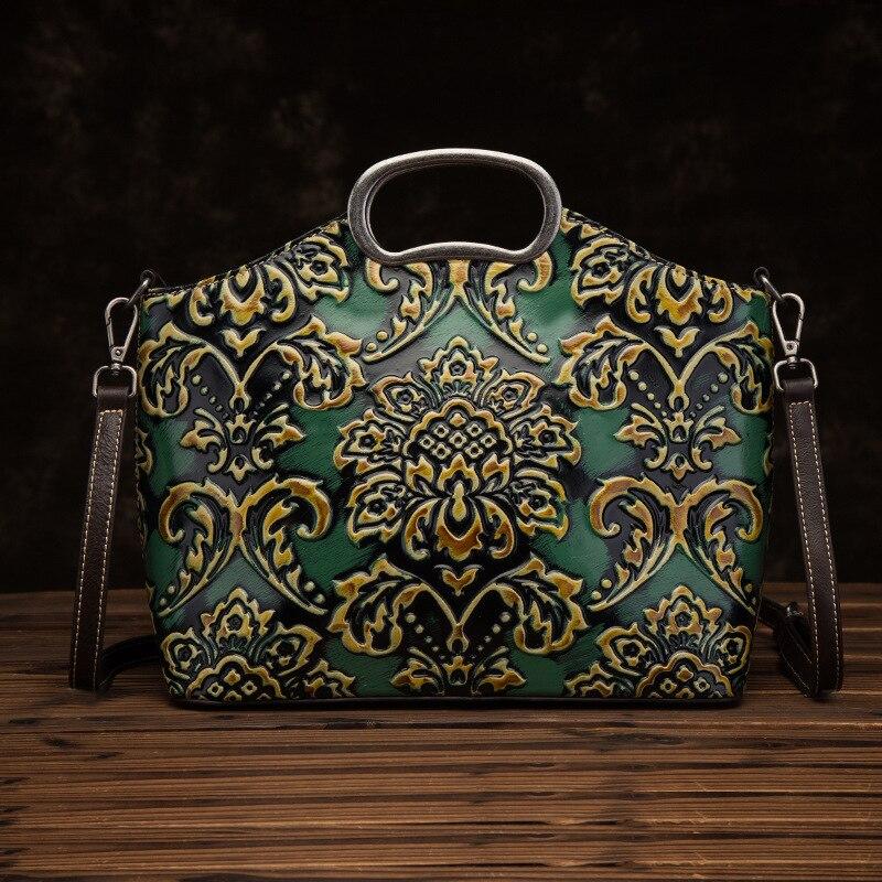 High Quality Genuine Leather Women Top Handle Bag Handbag Luxury Vintage Natural Skin Tote Embossed Messenger