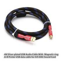 4N الفضة مطلي USB كابل الصوت مع حلقة المغناطيسي A B طابعة USB كابل بيانات ل Hifi DAC كارت الصوت