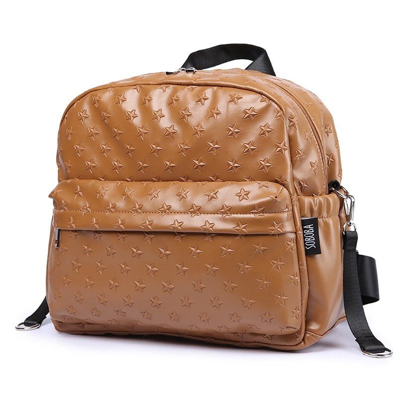 Baby Bag for Mother Waterproof Large Capacity Stroller Bags for Baby Care 3D Stars Brown Diaper