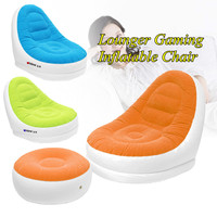 Flocking Inflatable Sofa With Foot Rest Cushion Garden Lounger Home Outdoor Living Room Air Lounge Chairs Furniture Infatables