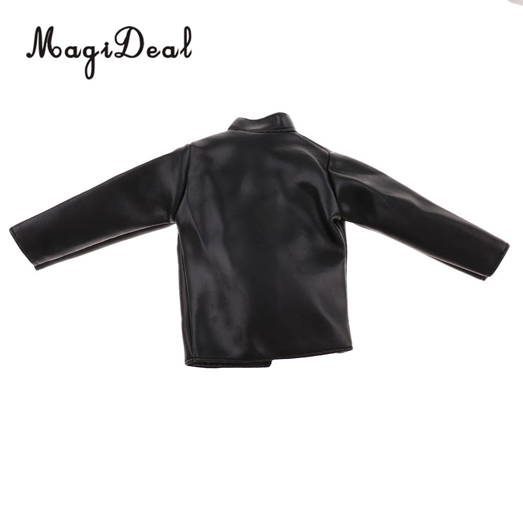 MagiDeal 1/6 Scale Black PU Leather Male Jacket Coat Clothes For 12 Inch Action Figures Doll Toys Accessories