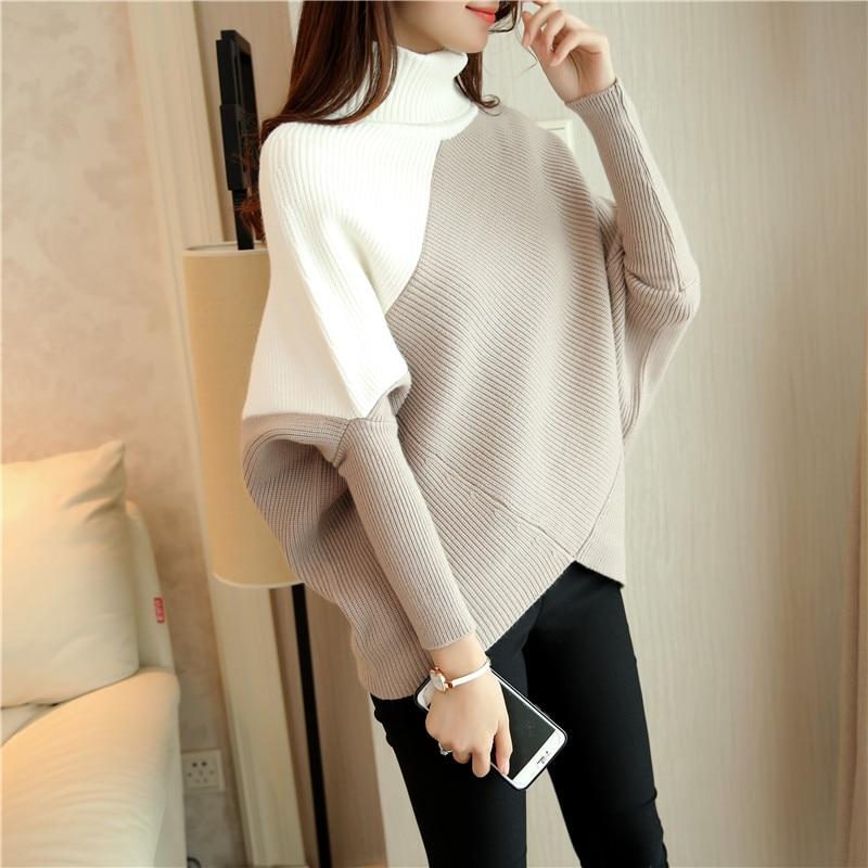 Musim luruh musim luruh longgar lengan lengan sweater pulover wanita kontras warna turtleneck rajutan sweater dan pullovers wanita puncak