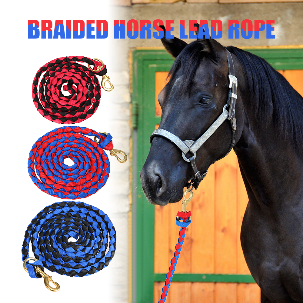 High Quality Braided Horse Leading Rope Braid Horses Halter With Brass Snap Horse Riding Horse Equipment 2019 2.0M / 2.5M / 3.0M