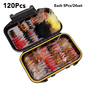 Image 1 - Fly Fishing Flies Trout Lures 40/72/100/120pcs  Fishing Lure Flies Nymphs Ice Fishing Lures Artificial Bait with Boxed for Pesca