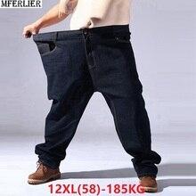 كبيرة الحجم كبيرة الرجال الجينز 9XL 10XL 11XL 12XL السراويل الخريف السراويل مرونة مستقيم 50 54 56 58 الجينز تمتد الأسود حجم كبير