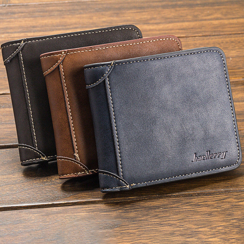 2019 HOT Men's Classic Wallet PU Leather Fashion Solid Color Three Fold Without Zipper Clutch Card