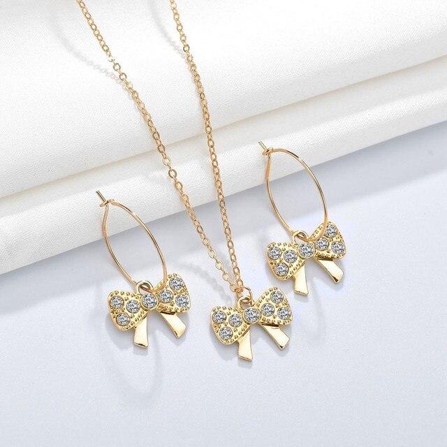 New 3PCS Women Trendy Earrings&Necklace Sets Bowknot Butterfly Rhinestone Female Jewelry 1