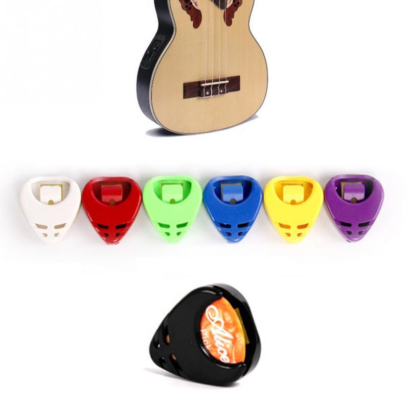 5x Portable Plactic Guitar Pick Plectrum Holder Case Box Acoustic Heart Shape SS