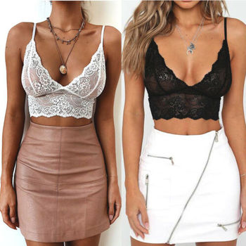 Floral Lace Strappy Bra crop top Comport Sexy Bralette Wireless V-neck Tank Top Summer Vest Crop Top ropa mujer strappy fitted top