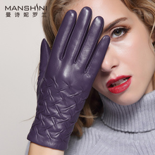 Genuine leather touch screen gloves female winter thick warmth first layer sheepskin womens telefingers MLZ026