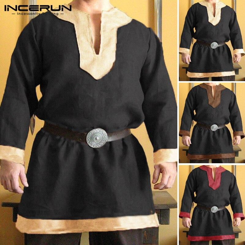 Men's Clothing Honest Vintage Viking Tops Mens Shirt Cotton Tunic Long Sleeve Dress Shirts Medieval Renaissance Male Tops Hombre Camisas Men Kurtas