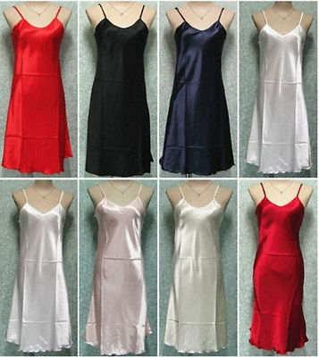 1a48f8dcba New Plus Size S-2XL Sexy Women Satin Silk Nightie Nightdress Chemise Slip  Sleepwear satin chemise satin slip dress