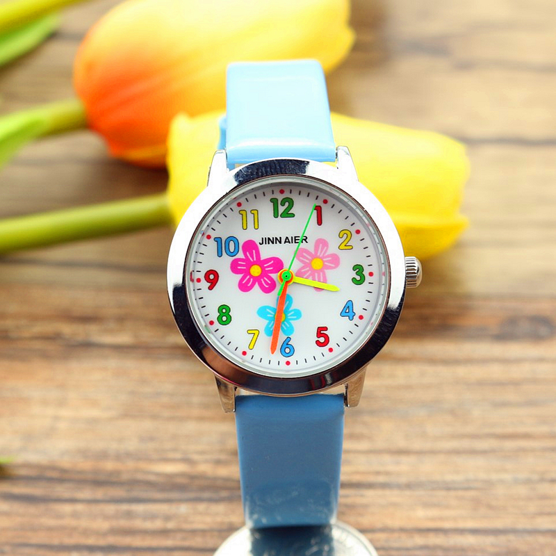 New Little Girls Beauty Flowers Dial Quartz Watch High Quality Kids Casual Leather Dress Watch Child Dress Gift El Reloj Clock