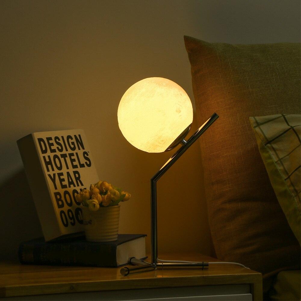 3d печатная Луна Ночная спальня настольная лампа Led Moontop настольная ночник 3 Вт Usb Съемная лампа для учебы для гостиной дома деко