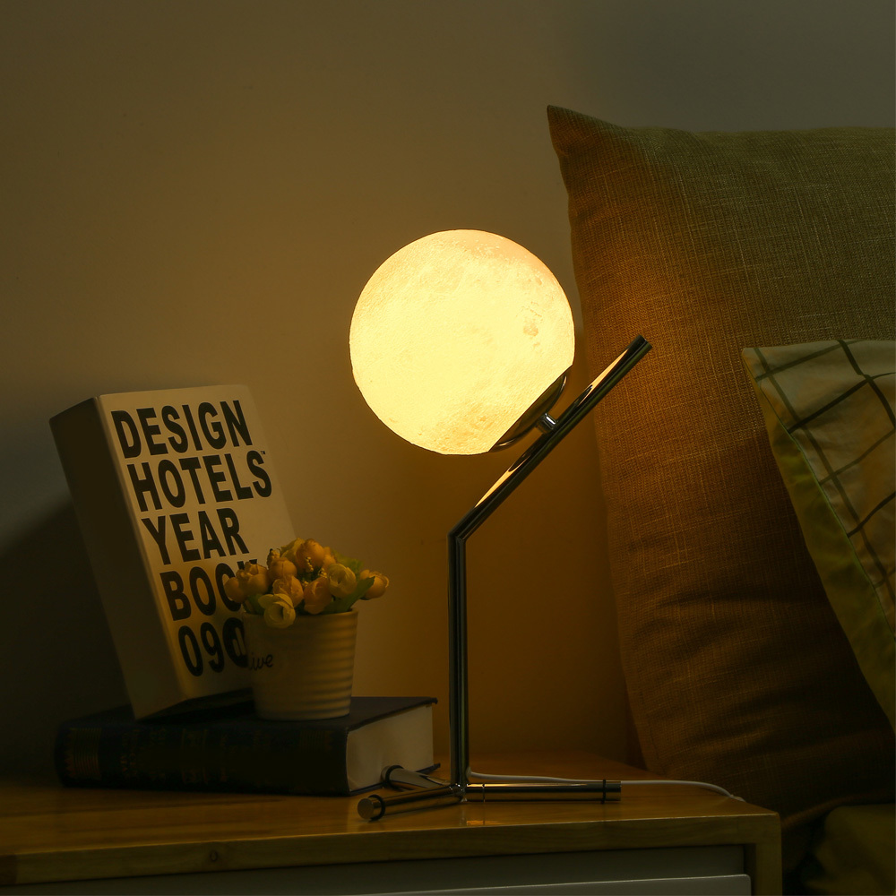 3d impreso Luna noche dormitorio lámpara Led Moontop escritorio noche luz 3 w Usb desmontable Luz de estudio para la vida casa habitación Deco