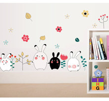 Decorate rabbit trees flower leaf art wall sticker decoration Decals mural painting Removable Decor Wallpaper LF-1821