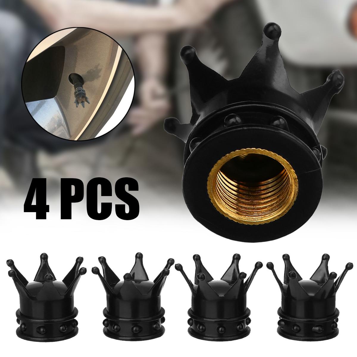 Treyues 4Pcs/set Universal Black Crown Style Car Tire Air Valve Stem Cap Automobiles Wheel Tyre Stem Air Valve Dust Covers