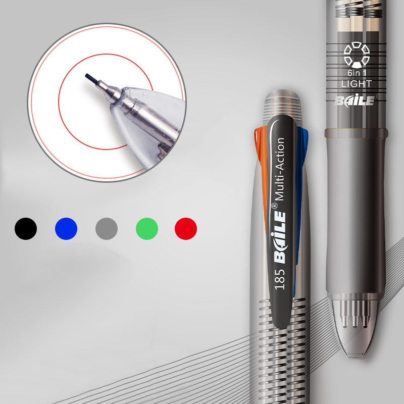 5 In 1 Ballpoint Pens 4 Colors Ball Pen 1 Automatic Pencil Multicolor With Eraser Ball Pen For School Office Supplies Stationery