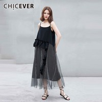 d527d300ebd CHICEVER Spring Sexy Striped Mesh Hit Color Women Dress O Neck Spaghetti  Strap Patchwork Ruffles Loose