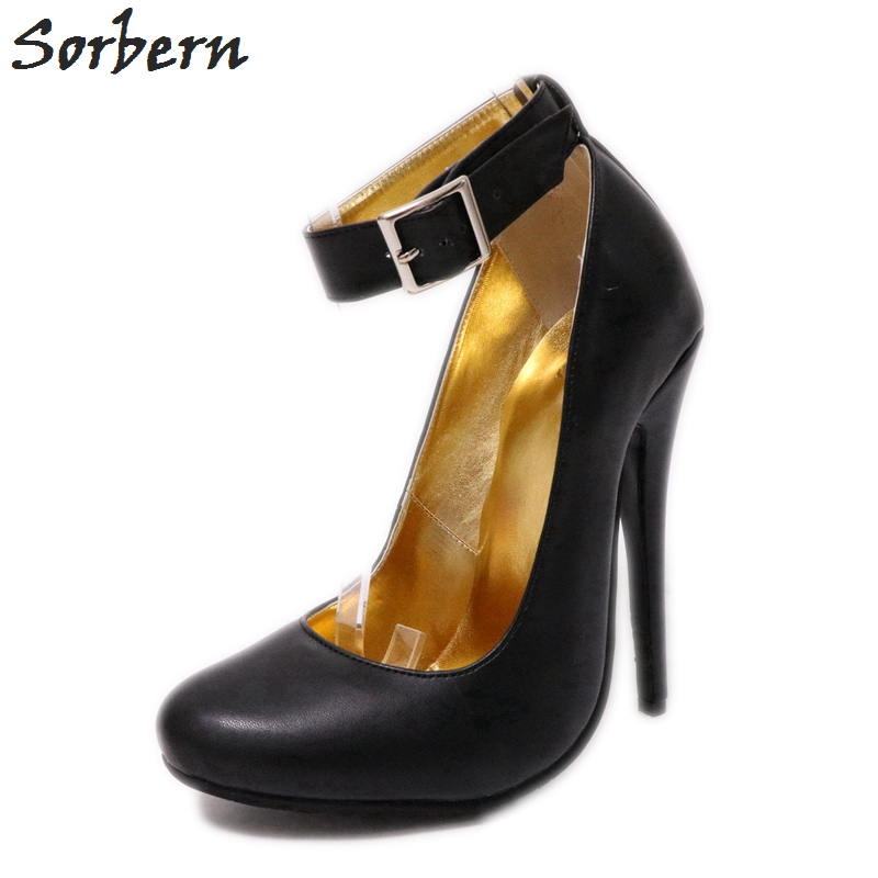 Sorbern Wide Strap Ankle Strap Women Pumps Cute Round Toe Ladies High Heels Shoes African Party