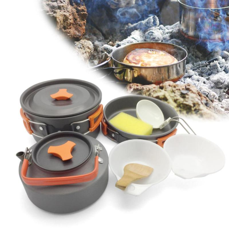 8pcs/set Outdoor Camping Cookware Set Portable Utensils 2-3 Persons Bowl Pot Spoon Tableware Cooking Travel Picnic Set