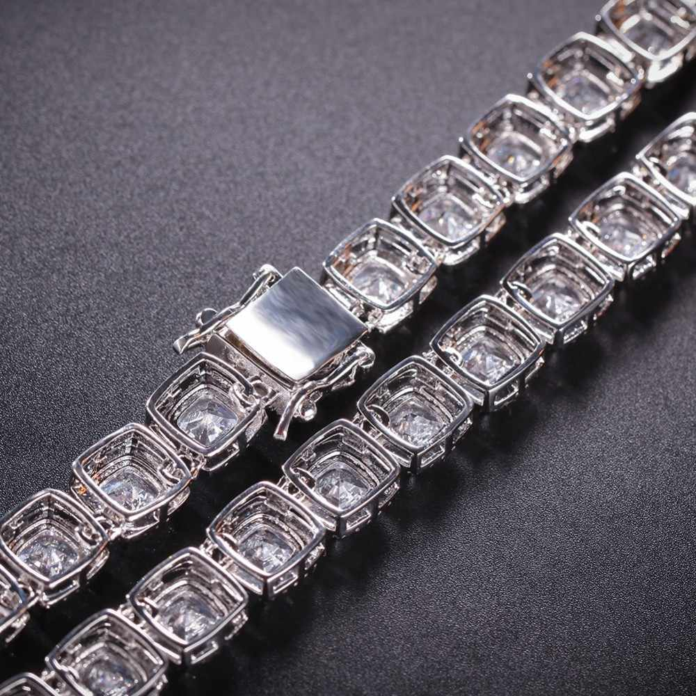 UWIN plac cyrkonia łańcuchy tenisowe najwyższej jakości Hiphop naszyjnik luksusowe pełna Iced Out CZ biżuteria dla kobiet mężczyzn Drop Shipping