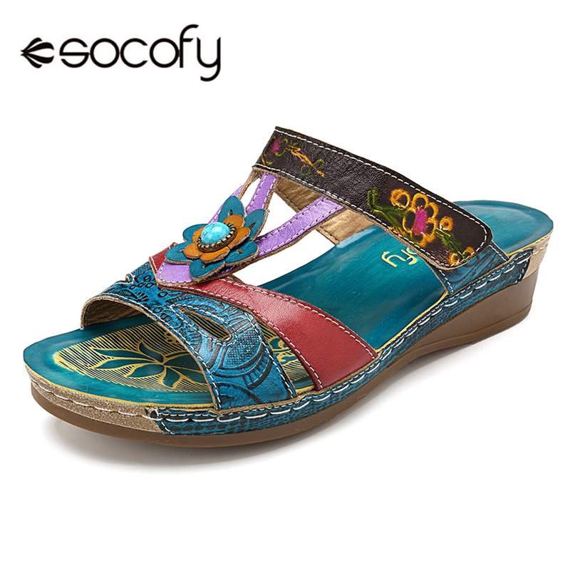 Socofy Plus Size Vintage Bohemian Women Slippers Low Heel Printed Genuine Leather Shoes Woman Slides Beach Slippers Ladies Shoes