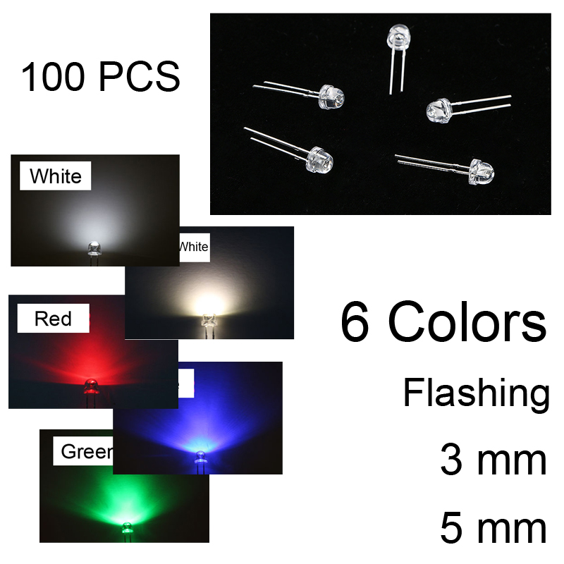 3MM 5MM Pink 100PCS LED Diodes Round Top Blue Fast/slow RGB Flashing Warm White Light DIY 6 Color Straw Hat Lot Red
