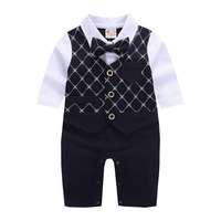 Baby Boys Long Sleeve Formal Outfit One Piece Tuxedo Gentleman Romper